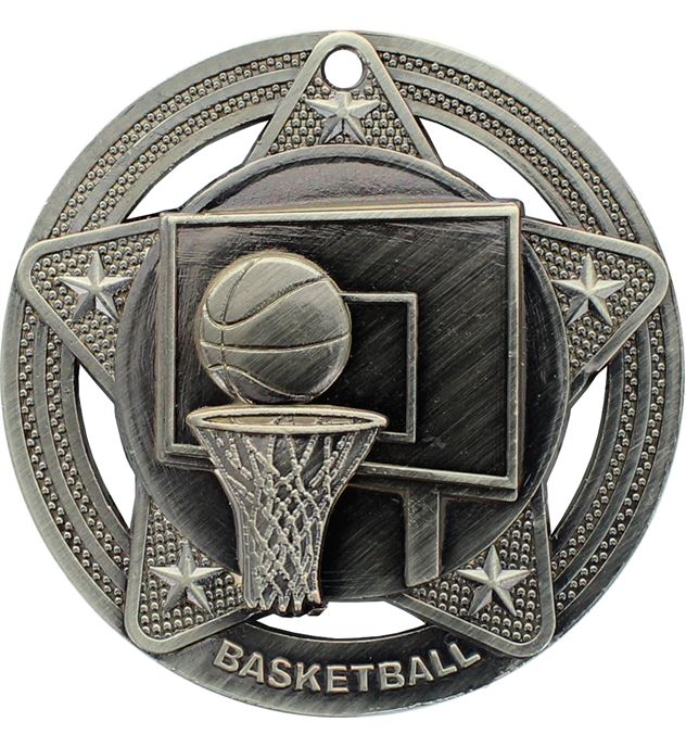 "Basketball Medal by Infinity Stars Antique Silver 50mm (2"")"