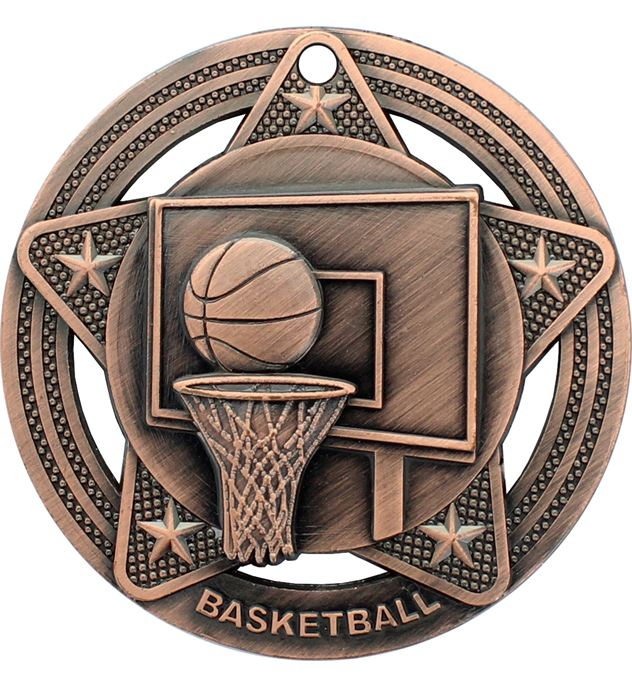 "Basketball Medal by Infinity Stars Antique Bronze 50mm (2"")"