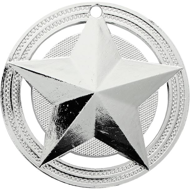 """Star Medal by Infinity Stars Silver 50mm (2"""")"""