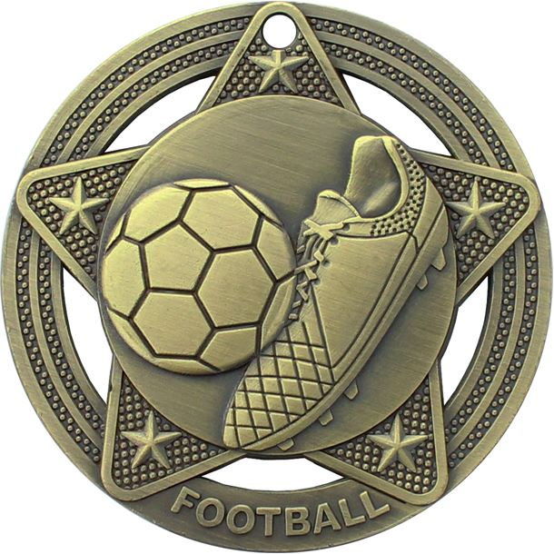 """Football Medal by Infinity Stars Antique Gold 50mm (2"""")"""