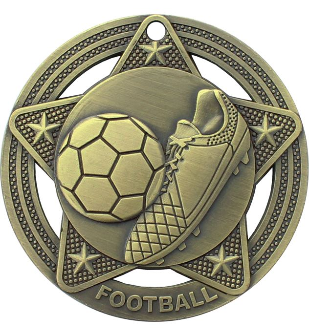 "Football Medal by Infinity Stars Antique Gold 50mm (2"")"