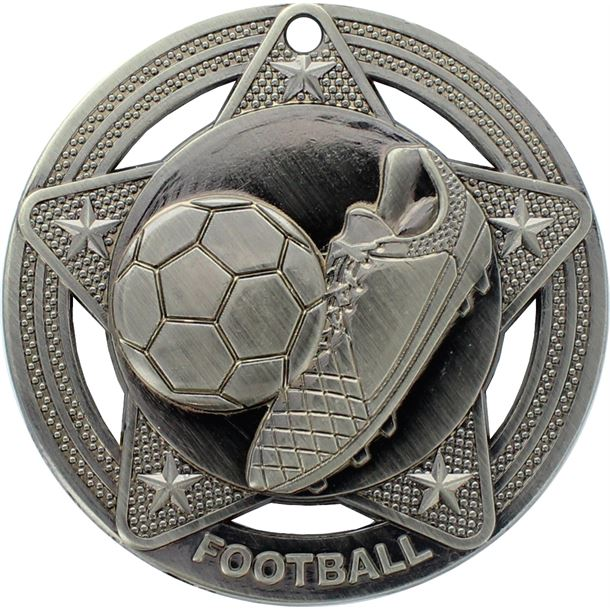 "Football Medal by Infinity Stars Antique Silver 50mm (2"")"