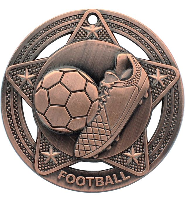 "Football Medal by Infinity Stars Antique Bronze 50mm (2"")"