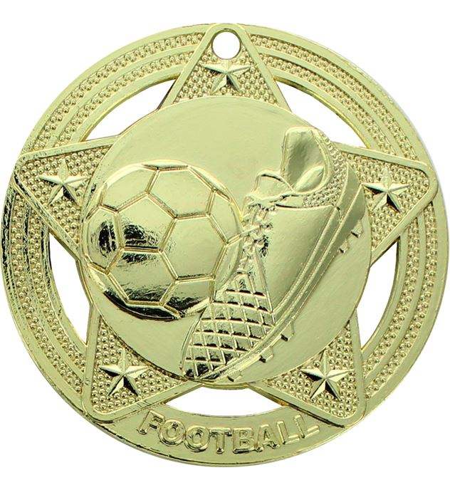 "Football Medal by Infinity Stars Gold 50mm (2"")"
