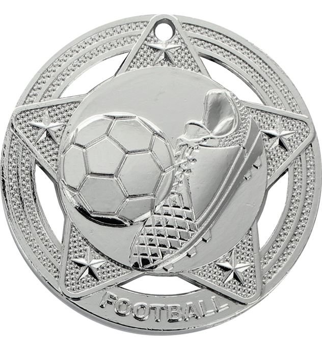 "Football Medal by Infinity Stars Silver 50mm (2"")"