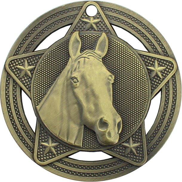 """Equestrian Medal by Infinity Stars Antique Gold 50mm (2"""")"""