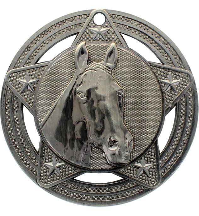 "Equestrian Medal by Infinity Stars Antique Silver 50mm (2"")"