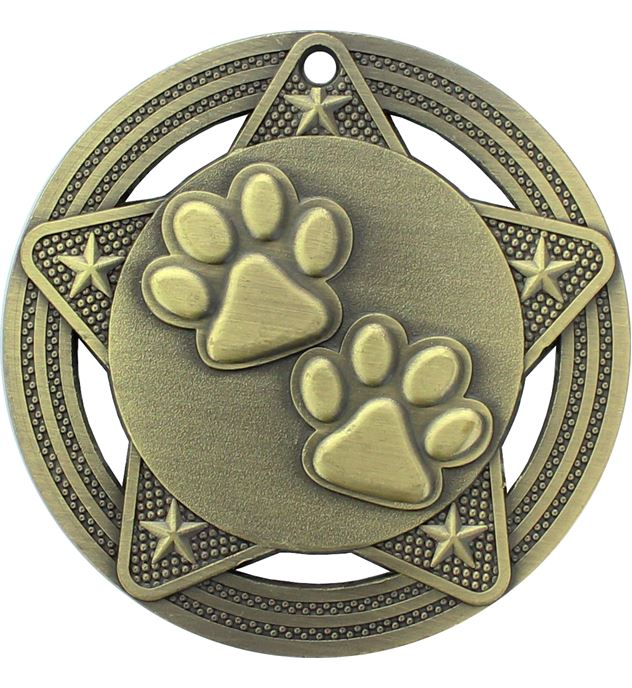 "Paw Print Medal by Infinity Stars Antique Gold 50mm (2"")"