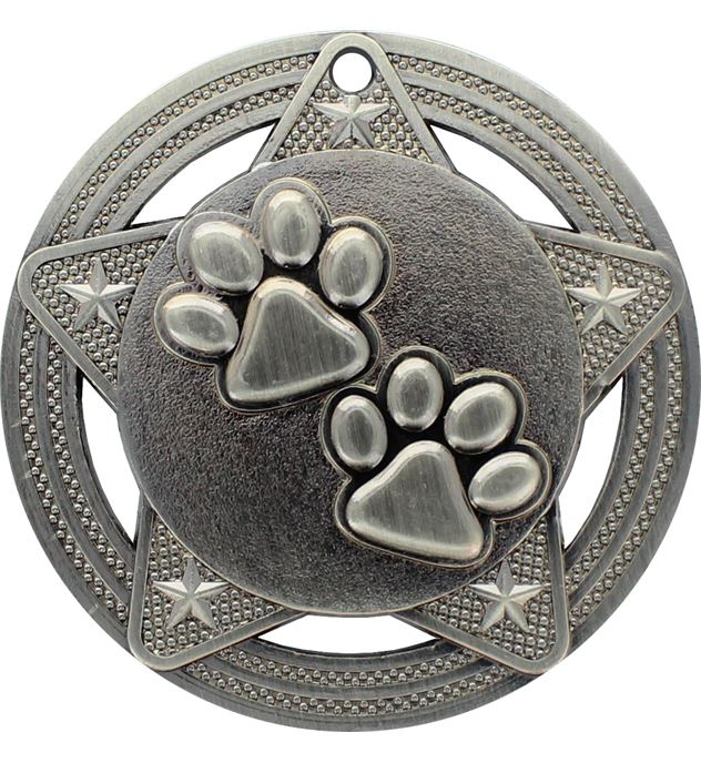 """Paw Print Medal by Infinity Stars Antique Silver 50mm (2"""")"""