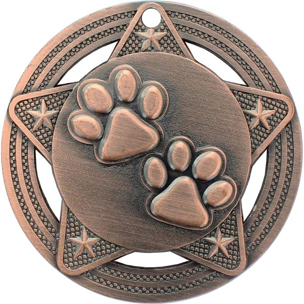 "Paw Print Medal by Infinity Stars Antique Bronze 50mm (2"")"