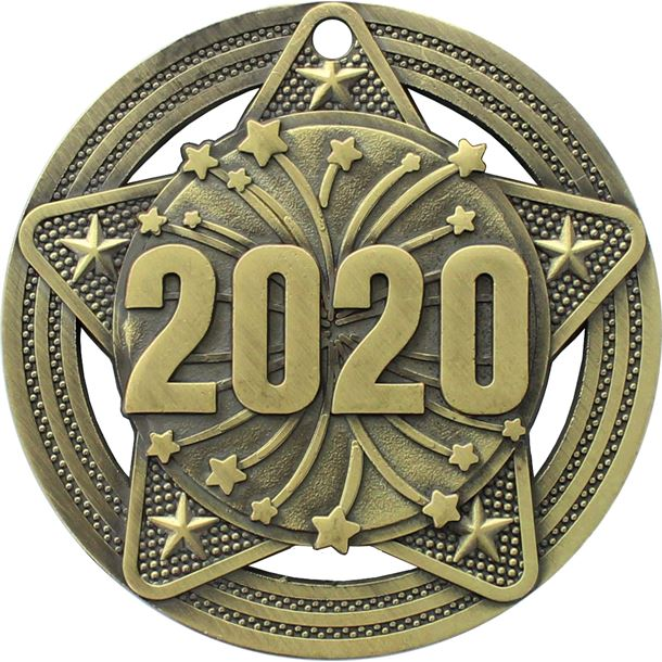 "2020 Medal by Infinity Stars Antique Gold 50mm (2"")"