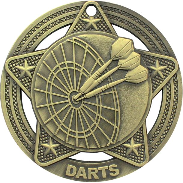 """Darts Medal by Infinity Stars Antique Gold 50mm (2"""")"""