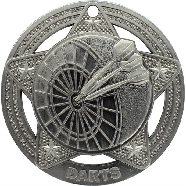 """Darts Medal by Infinity Stars Antique Silver 50mm (2"""")"""