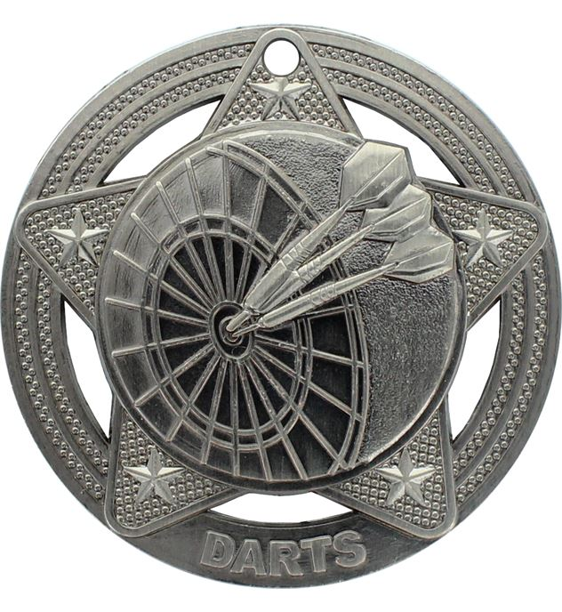 "Darts Medal by Infinity Stars Antique Silver 50mm (2"")"