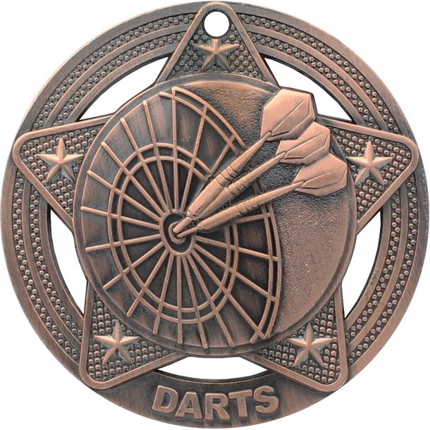"Darts Medal by Infinity Stars Antique Bronze 50mm (2"")"