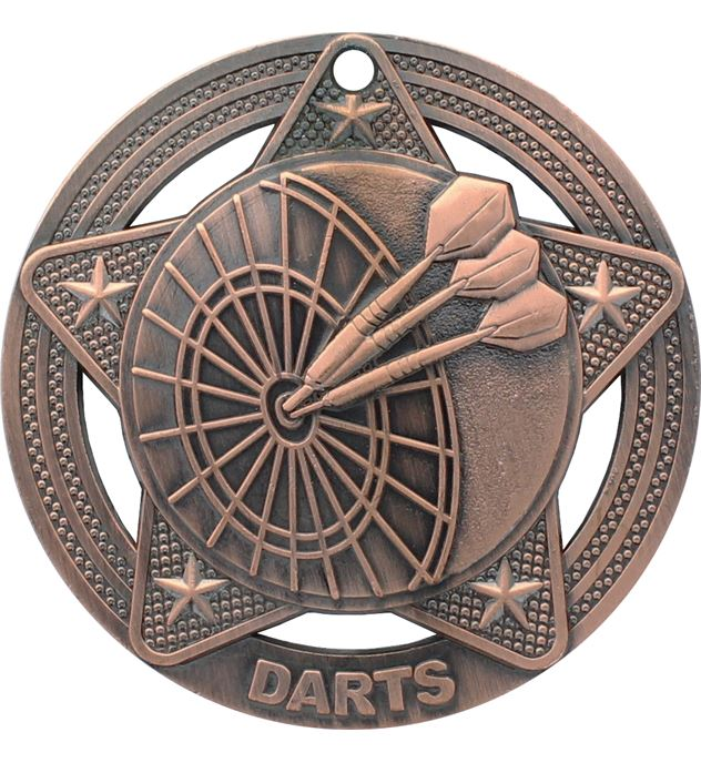 """Darts Medal by Infinity Stars Antique Bronze 50mm (2"""")"""