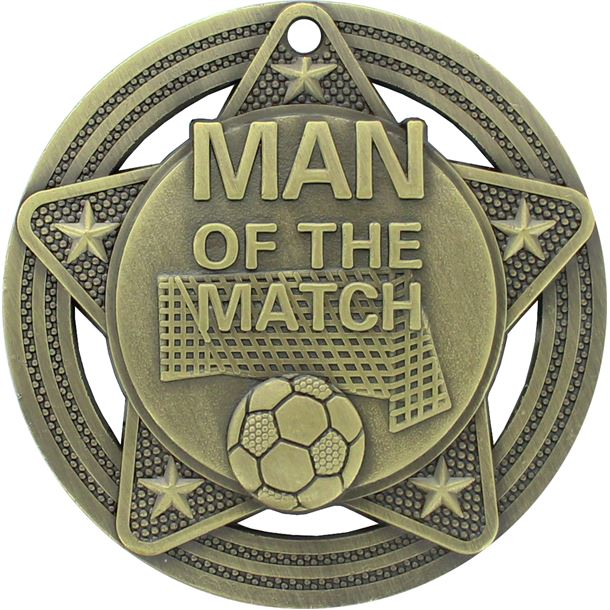 """Man of the Match Medal by Infinity Stars Antique Gold 50mm (2"""")"""
