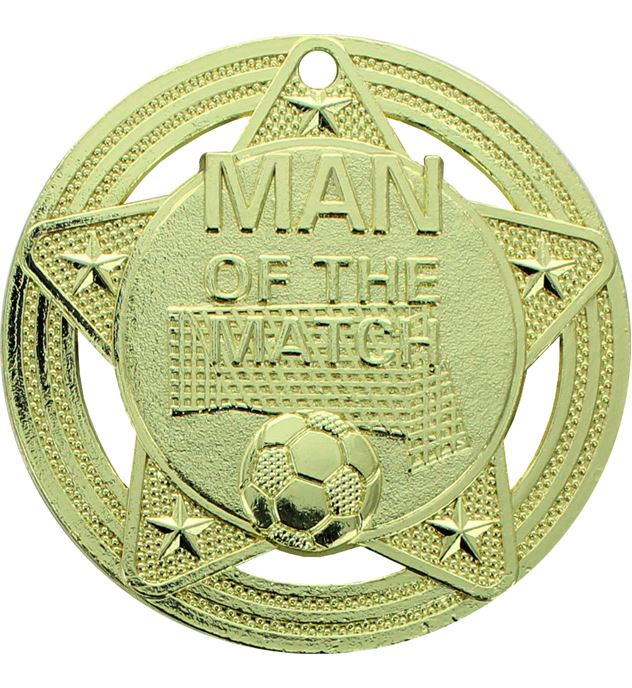"Man of the Match Medal by Infinity Stars Gold 50mm (2"")"