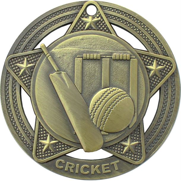 """Cricket Medal by Infinity Stars Antique Gold 50mm (2"""")"""