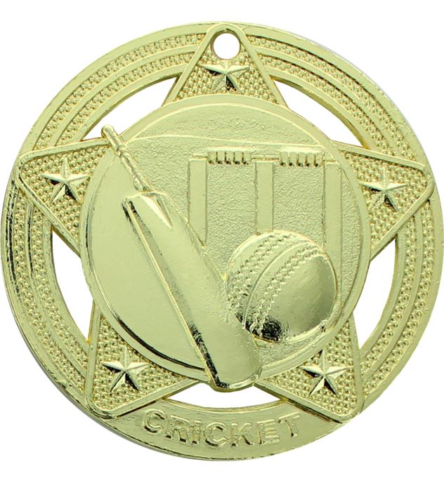 """Cricket Medal by Infinity Stars Gold 50mm (2"""")"""