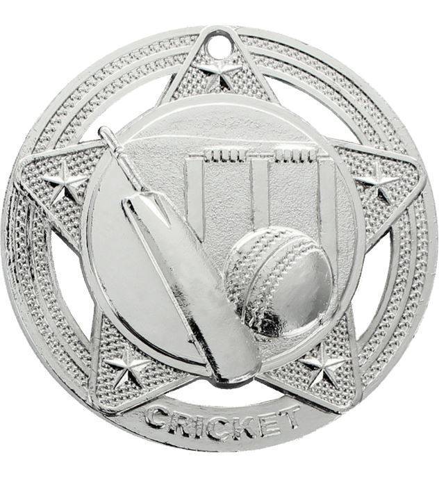 """Cricket Medal by Infinity Stars Silver 50mm (2"""")"""