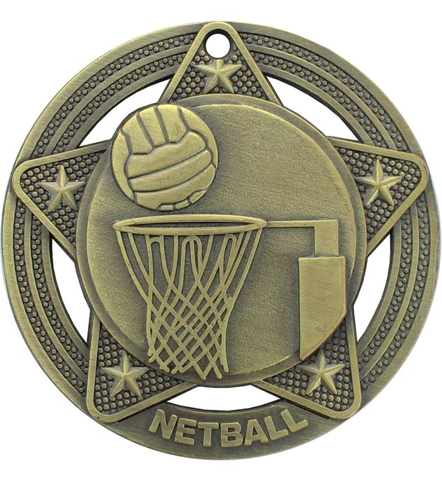 "Netball Medal by Infinity Stars Antique Gold 50mm (2"")"
