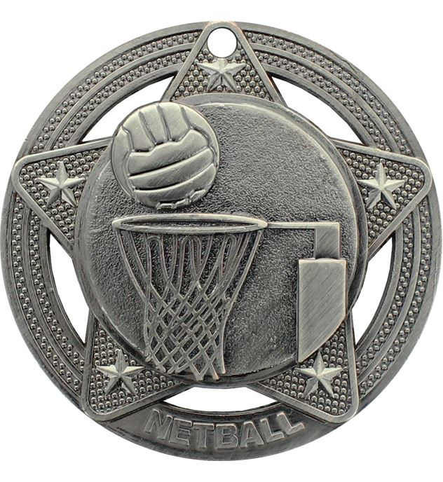 "Netball Medal by Infinity Stars Antique Silver 50mm (2"")"