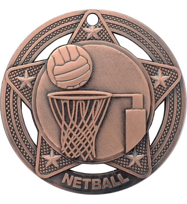 """Netball Medal by Infinity Stars Antique Bronze 50mm (2"""")"""