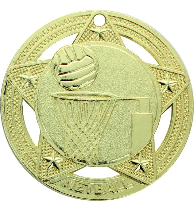 "Netball Medal by Infinity Stars Gold 50mm (2"")"