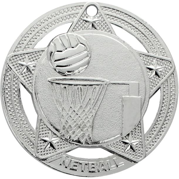 """Netball Medal by Infinity Stars Silver 50mm (2"""")"""