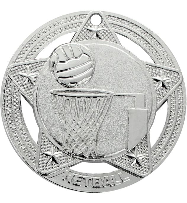 "Netball Medal by Infinity Stars Silver 50mm (2"")"