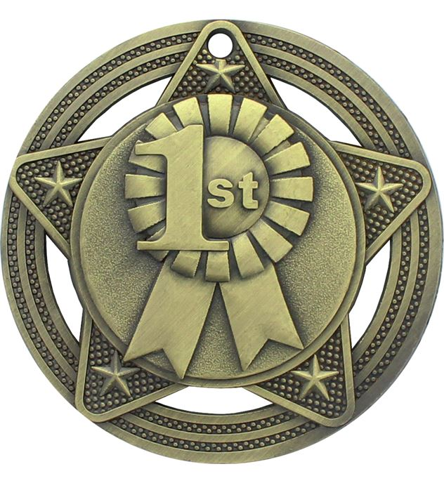 """1st Place Medal by Infinity Stars Antique Gold 50mm (2"""")"""