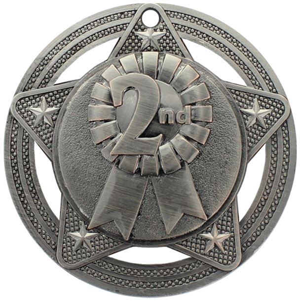 """2nd Place Medal by Infinity Stars Antique Silver 50mm (2"""")"""