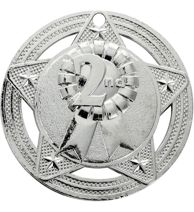 """2nd Place Medal by Infinity Stars Silver 50mm (2"""")"""