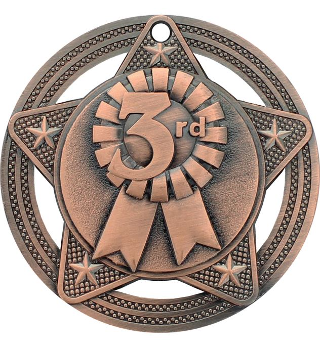 "3rd Place Medal by Infinity Stars Antique Bronze 50mm (2"")"