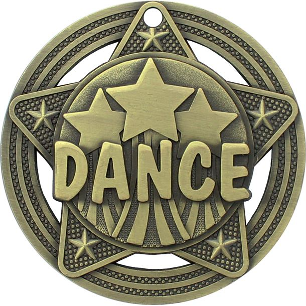 "Dance Medal by Infinity Stars Antique Gold 50mm (2"")"