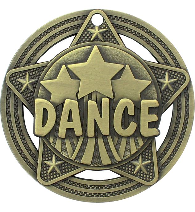 """Dance Medal by Infinity Stars Antique Gold 50mm (2"""")"""