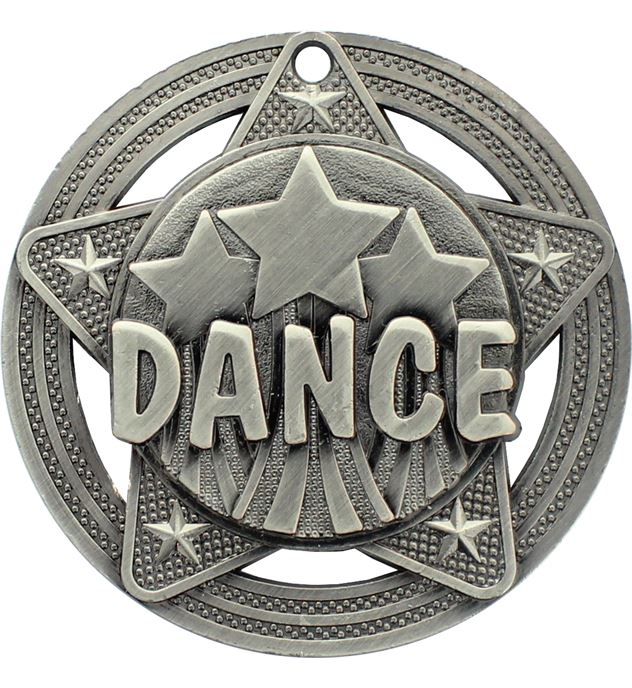 "Dance Medal by Infinity Stars Antique Silver 50mm (2"")"