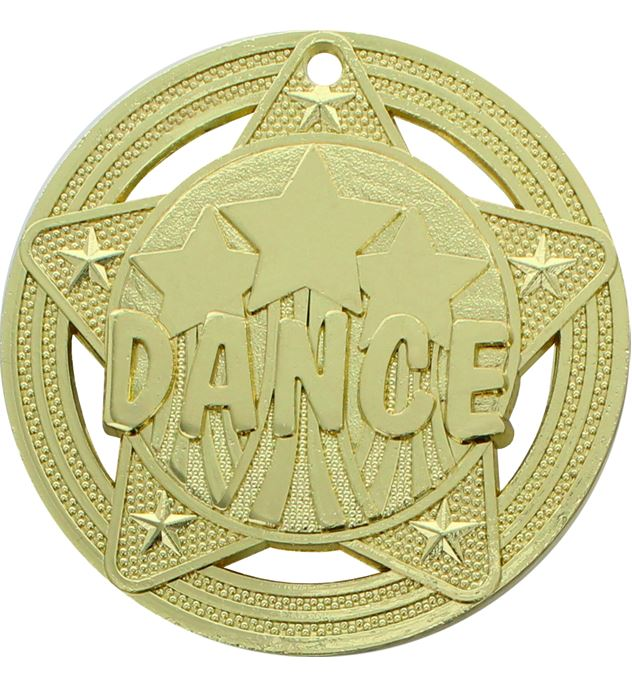 """Dance Medal by Infinity Stars Gold 50mm (2"""")"""