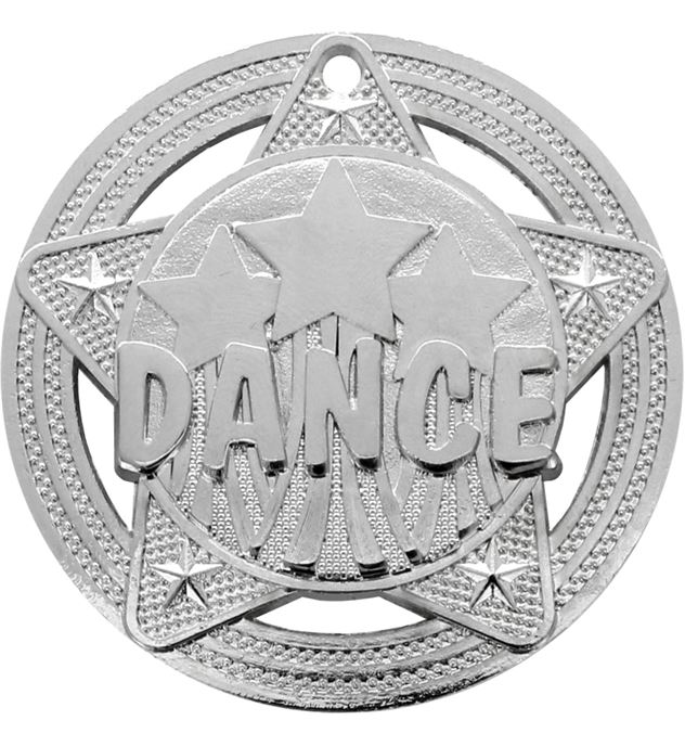 """Dance Medal by Infinity Stars Silver 50mm (2"""")"""