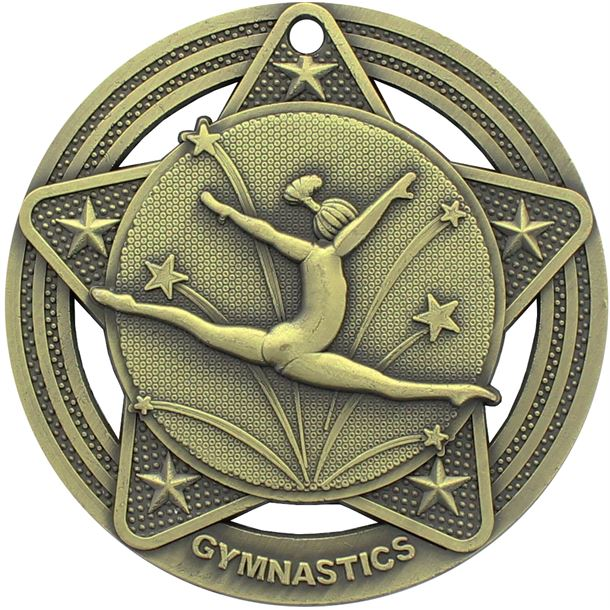 """Female Gymnastics Medal by Infinity Stars Antique Gold 50mm (2"""")"""