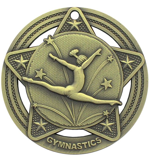"Female Gymnastics Medal by Infinity Stars Antique Gold 50mm (2"")"