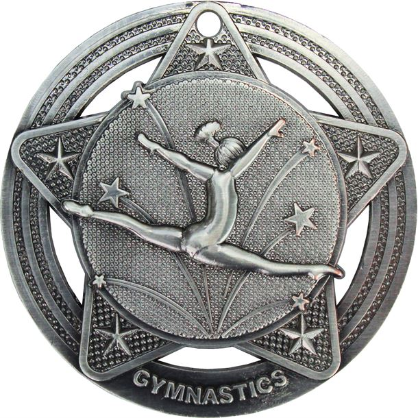"Female Gymnastics Medal by Infinity Stars Antique Silver 50mm (2"")"