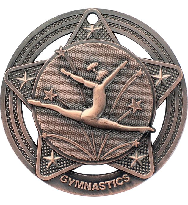 "Female Gymnastics Medal by Infinity Stars Antique Bronze 50mm (2"")"