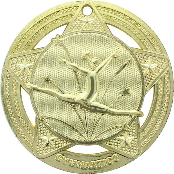 """Female Gymnastics Medal by Infinity Stars Gold 50mm (2"""")"""