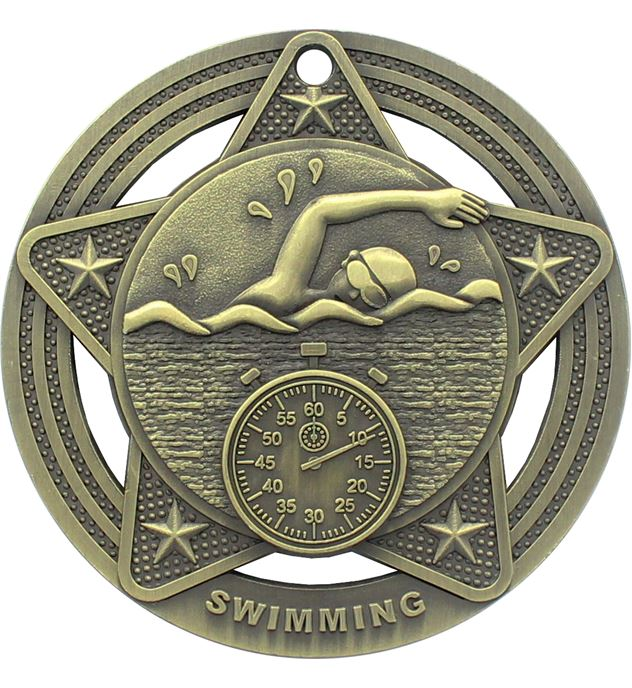 """Swimming Medal by Infinity Stars Antique Gold 50mm (2"""")"""