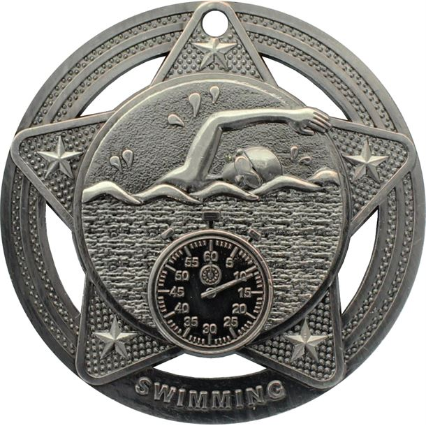 "Swimming Medal by Infinity Stars Antique Silver 50mm (2"")"