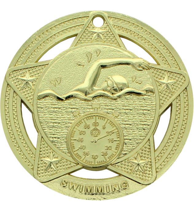 "Swimming Medal by Infinity Stars Gold 50mm (2"")"