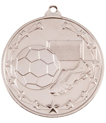 "Starboot Economy Football Medal Silver 50mm (2"")"