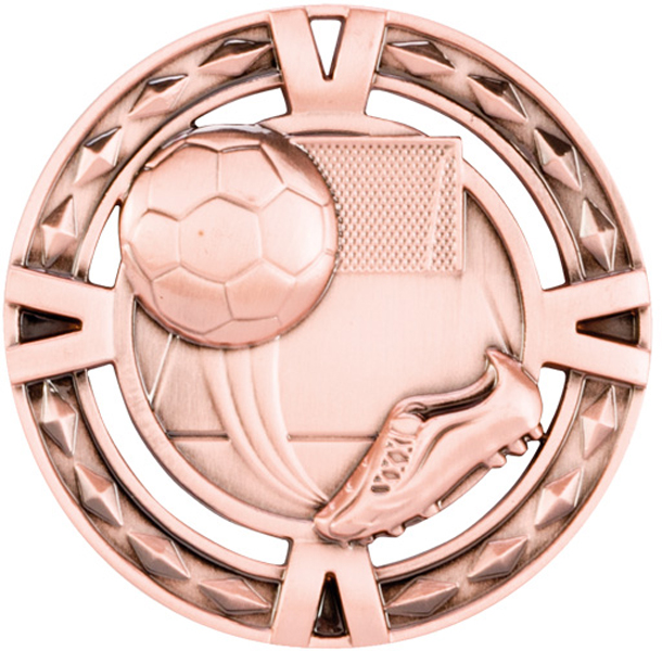 "Bronze Diamond Pattern Football Boot & Ball Medal 60mm (2.25"")"